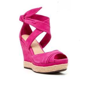Ugg hot pink  Suede Peep Toe Platform Sandals